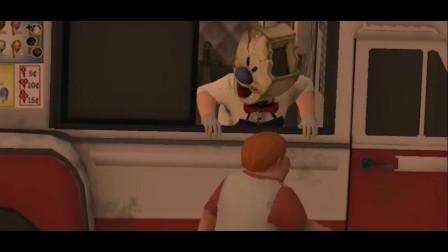 恐怖冰淇淋:怪叔叔带着冰淇淋的面具,把邻居小胖变成了冰棍