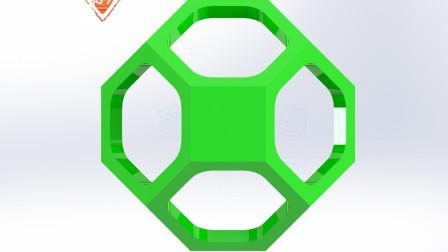亦明图记:SolidWorks建模,六边形壳体,用组合命令做出两个实体的共同部分