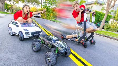 遥控车踏板车平衡车谁更快?老外极速比赛,最快的奖励10000美元!