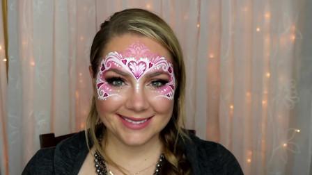 面具彩绘,粉色爱心看着十分温柔,爱了