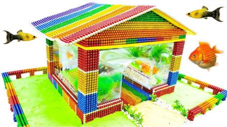 巴克球玩法:用彩色的巴克球搭建水族缸,鱼儿很喜欢!