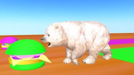趣味益智动画片 狮子各种动物吃汉堡包