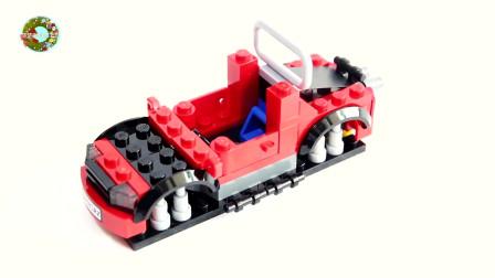 积木拼插组装越野车和托运大卡车玩具