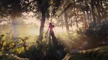 白雪公主在犹如仙境般的地方见到了白鹿,还上前抚摸它