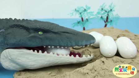 侏罗纪世界暴龙偷恐龙蛋 各种颜色的小恐龙 益智早教玩具