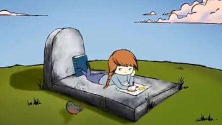 小女孩为了等妈妈,静静的在墓碑前画画,看完泪流不止
