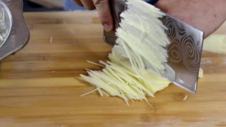 土豆切丝小技巧,凉拌土豆丝最爽的吃法,看着就好吃