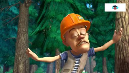 动画片熊出没光头强深山砍树,熊二深山乘凉