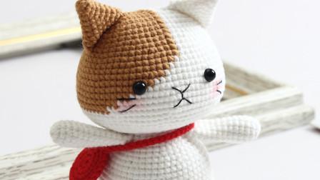 胖丫手作-第155集 咖色耳朵小猫钩织教程