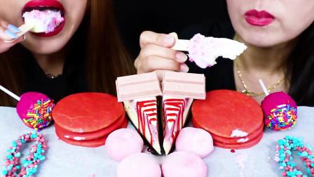 国外美女吃播:草莓冰淇淋、果冻、蛋糕、糯米团、芝士蛋糕