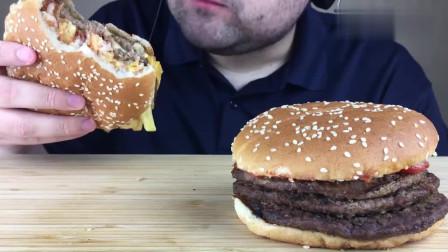 大胃王吃播:俄罗斯胡须大叔吃两个巨无霸汉堡,胃口太好了!