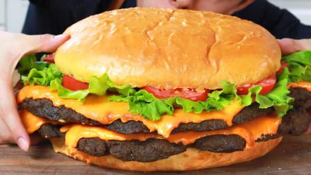 用30磅食材制作巨型汉堡,这样吃太过瘾!