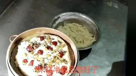 甜酒酿,红枣,葡萄干,粘米几种食材混合,用筷子一搅,美味重阳米发糕简单做