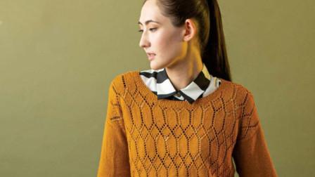 一款清新唯美的镂空衫花样,简单的几何图案组合,漂亮大方钩织方法视频教程