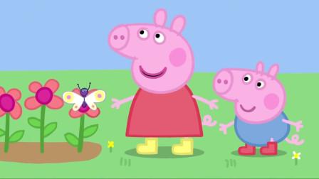小猪佩奇:佩奇乔治来到花园,他们来帮爷爷干活,却遇到一只蝴蝶