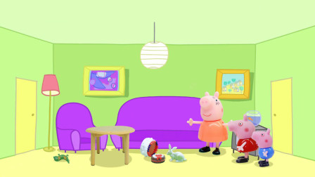 小兔子爱捣乱,打翻了猪妈妈做的蛋糕,弄脏了乔治的恐龙玩具