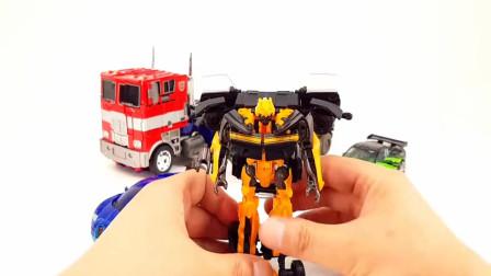 变形金刚炫彩小汽车跑车机器人玩具