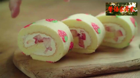 美食分享,草莓瑞士蛋糕卷,就是有可爱小草莓的那种,超好吃!