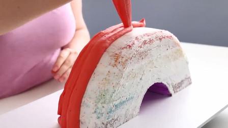 """超好看的""""彩虹""""蛋糕,这手艺也太赞了吧,完成后都不舍得吃了!"""
