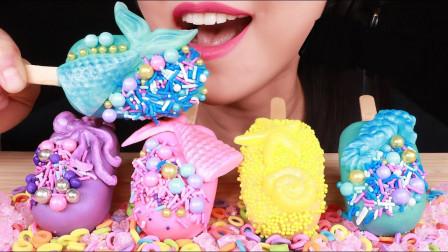 """彩色的美人鱼""""棒棒蛋糕"""",上面洒满彩色的糖果,美味又高颜值"""