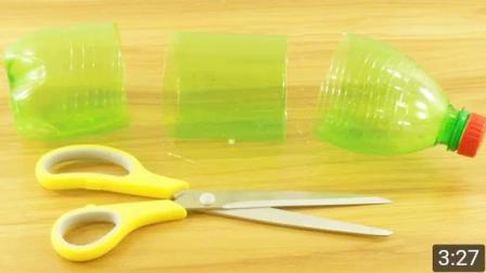 可乐瓶用剪刀剪一下,简单手工DIY一下,成品美哭了!