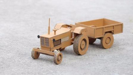 手工达人教你用纸板制作一辆带货斗的电动拖拉机,完成后太酷了