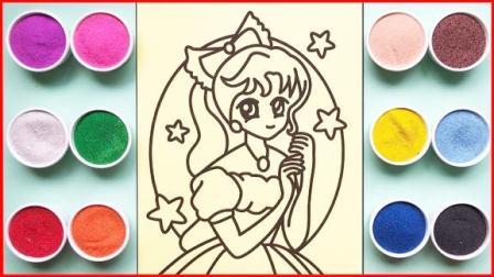 沙画涂色美丽的金发公主,做法简单成品非常漂亮,小朋友喜欢