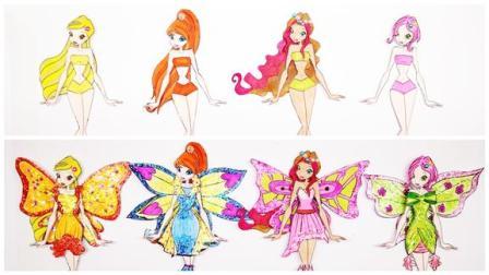 给美丽俏佳人设计4套花仙子服装,可以换装的益智贴,手工diy