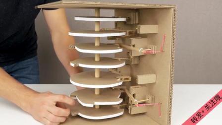 国外大神用纸壳制作数字显示器,没有电子元件,机械的美感