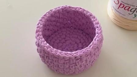 手编美观又实用的小圆形储物筐,装小物件太合适了