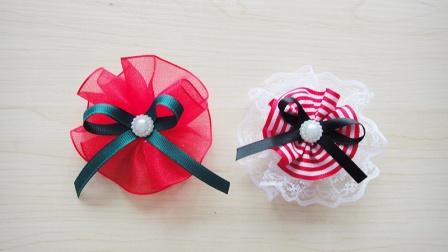 DIY手工教程圣诞风丝带套装酒红系发夹发卡小花做法