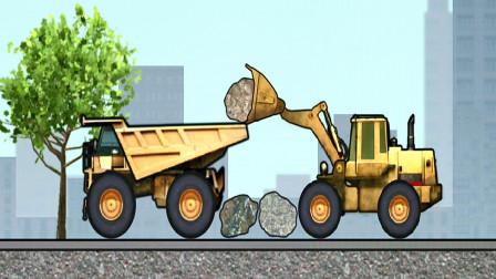 工程车模拟游戏 推土机和翻斗车装载石头