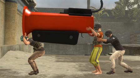 吃鸡动画:这是一把巨无霸信号枪,威力超大,需要三个人才能扛