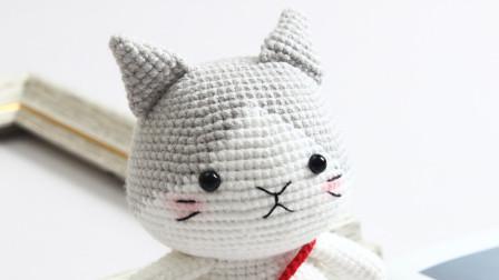 爱剪辑-胖丫手作第160集灰色小猫头部钩织视频简单花样图解