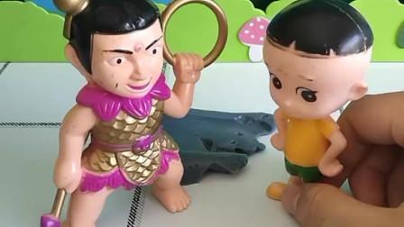 育儿亲子游戏玩具:大头儿子抓住一只怪兽