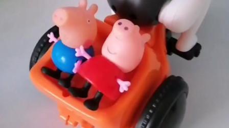育儿亲子游戏玩具:大头哥哥把迷路的佩奇和乔治送回家了