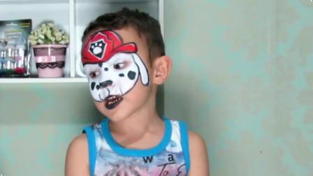 面部彩绘妆容,在小朋友脸上化上小狗,超可爱的