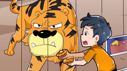 小伙在动物园游玩,无意间碰到了老虎,他是如何应对的