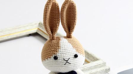 胖丫手作第165集咖色耳朵小兔子钩织教程织法视频