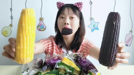 """美食拆箱:妹子吃""""粗粮玉米"""",纯绿色无添加食品,好看喷喷香"""