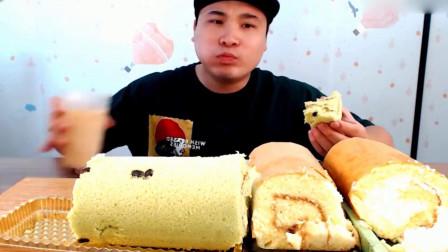 大胃王吃播,吃红豆抹茶,芝士奶油蛋糕卷喝牛奶咖啡
