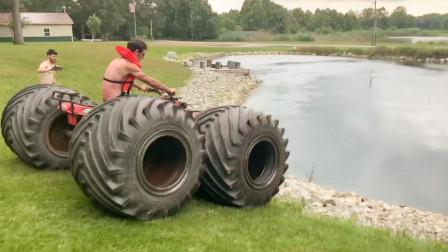 给沙滩车换上超大轮胎,冲下水的那一刻,才是惊喜的开始!