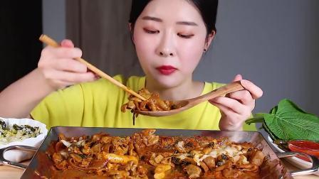 韩国吃播 美食吃货Fume  芝士炒宽粉