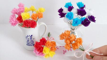 手工纸花教程,迷你玫瑰花的制作方法,简单又漂亮!