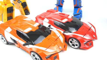 开箱变形金刚TOBOT V托宝兄弟三合一超级跑车机器人变形玩具