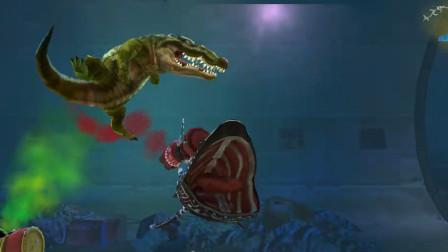 饥饿鲨世界:蛇形姥鲨的大嘴巴,真的适合用来吃鳄鱼吗?