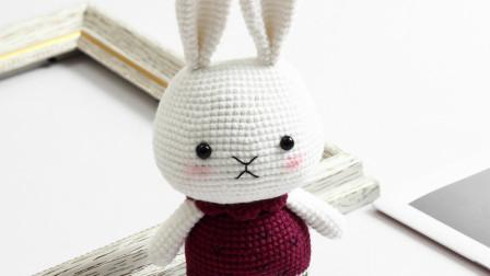 胖丫手作第170集红衣服小兔子身体耳朵缝合粗毛线手工编织