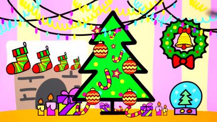 儿童简笔画一起来画圣诞树和装饰品