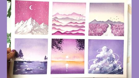【水彩教程】超简单的六幅小风景,快拿出你的颜料画起来吧