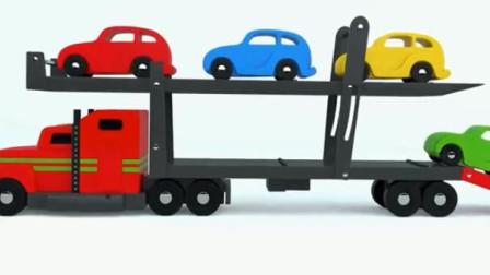 亲子早教卡通 超级卡车运载彩色工程车消防车警车皮卡车
